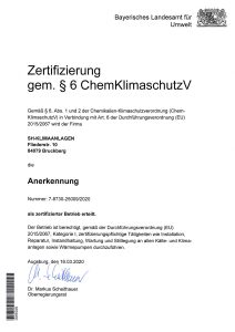 Zertifizierung gem. § 6 ChemKlimaschutz V